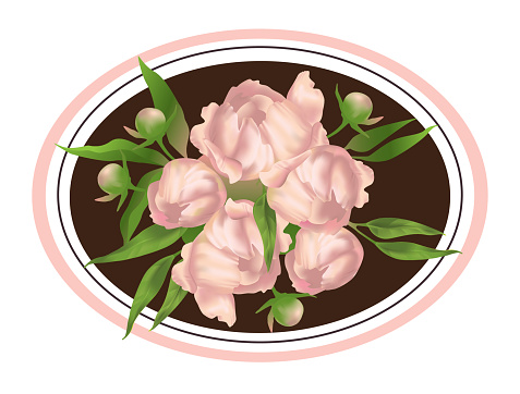 Pink peonies. Vector illustration