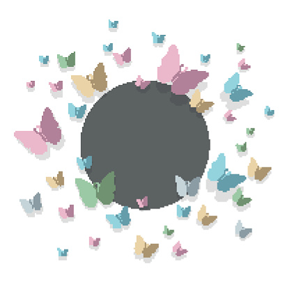 Vector Background with Pastel Colored Paper Butterflies