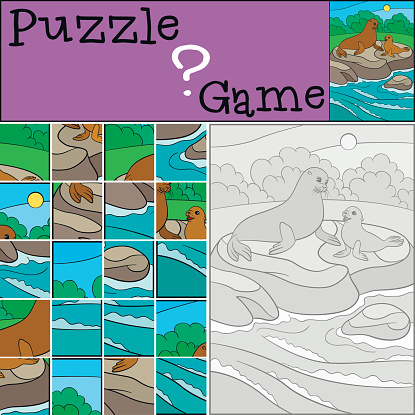 Education game: Puzzle. Mother fur seal with her baby.