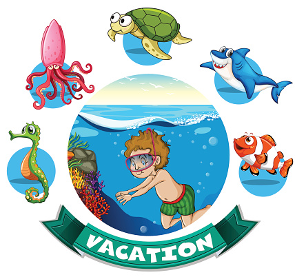 Vacation banner with man diving underwater