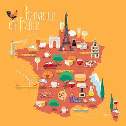 Map of France vector isolated illustration. Set of icons