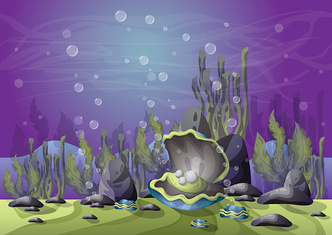 cartoon vector underwater landscape with separated layers