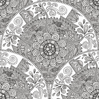Seamless monochrome pattern with ornament, fishes, waves, wind and ships.