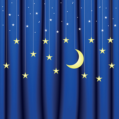 Background conceptual image of blue curtain with stars