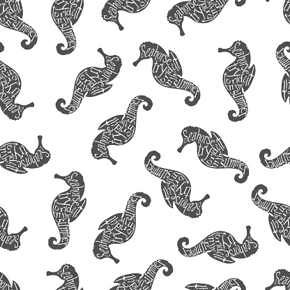 Typography lettering seahorse pattern
