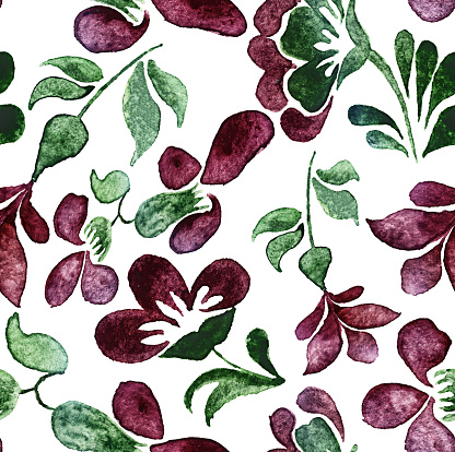 watercolor sketch: a floral element pattern on a white background
