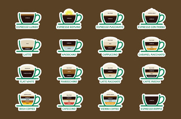 Hot Coffee drinks with recipes icons set.