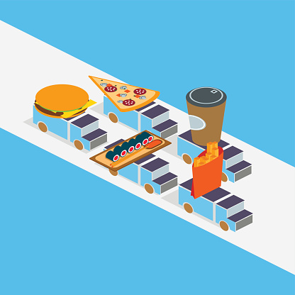 Food delivery concept isometric vector illustration