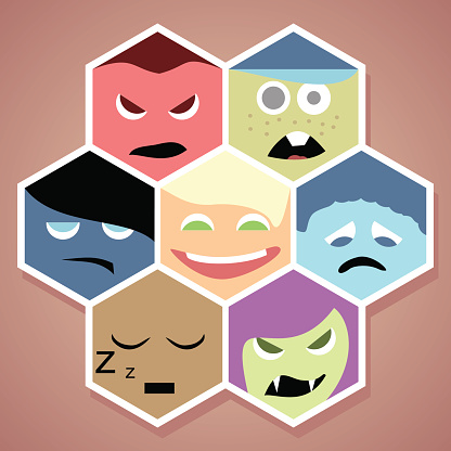 Vector cartoon style smiles with different emotions