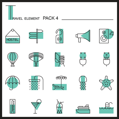 Travel Element Line Icon Set 4.Beach and Sea thin icons.