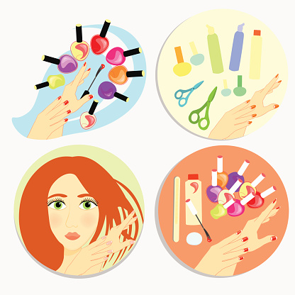 set of care products and nail decoration. vector illustration