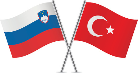 Slovenian and Turkish flags. Vector.