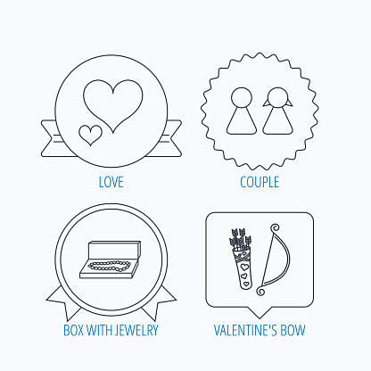 Love heart, jewelry and couple icons.