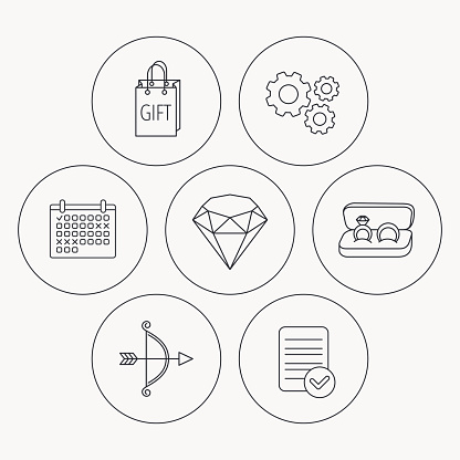 Brilliant, gift and wedding rings icons.