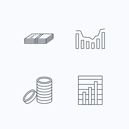 Cash money and dynamics chart icons.