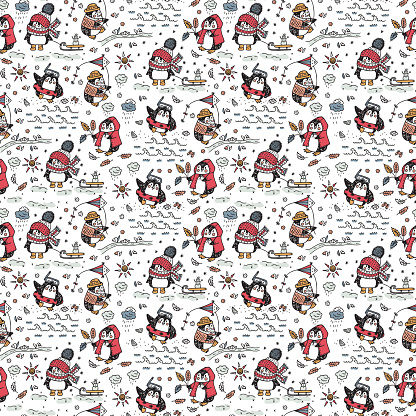 Hand drawn doodle Cute penguins Seamless pattern