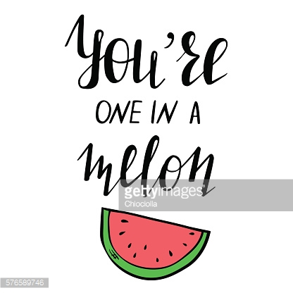 Template with lettering and watermelon