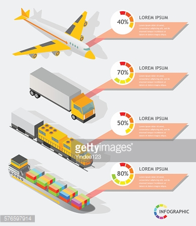 isometric info graphic transporter shipping