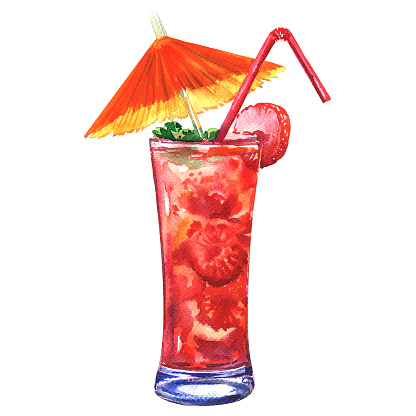 Tasty refreshing cold cocktail with strawberry, isolated, watercolor illustration