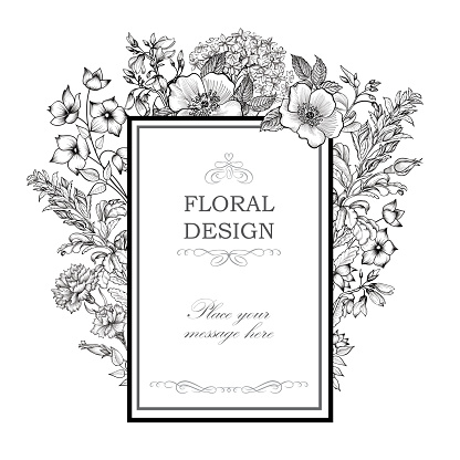 Flower bouquet background. Floral frame. Flourish greeting card.