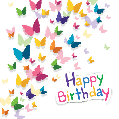 Vector Happy Birthday Greeting Card with Butterflies