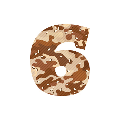 Number six icon with desert camouflage.