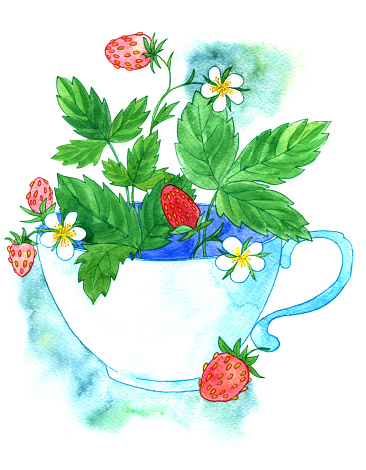 cup of tea with strawberries