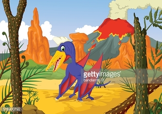 funny pterodactyl cartoon with forest landscape background