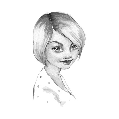 Girl with short hair. Beautiful female face. Watercolor portrait
