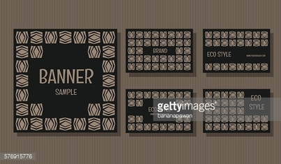 Simple Banner and business card Eco stlye collection set