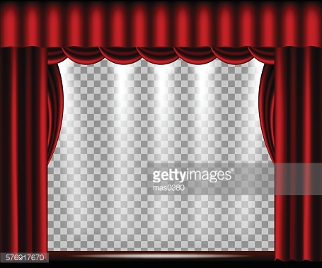 Vector Theater stage with red curtain
