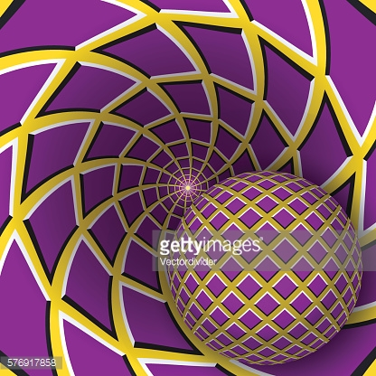 Ball is moving on rotating purple yellow background