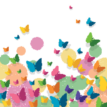 Vector Background with Colorful Paper Butterflies and Floral Elements