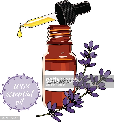 Bottle of lavender essential oil with dropper.