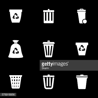 Vector white trash can icon set