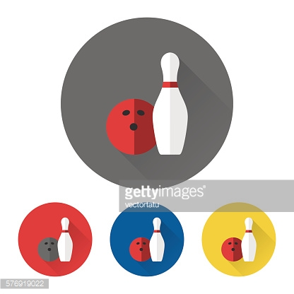 Bowling skittle and ball icons