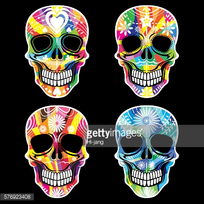 Day Of The Dead Skull Vector Set - Illustration