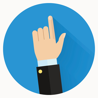 Advice icon. Businessman hand with pointing finger.