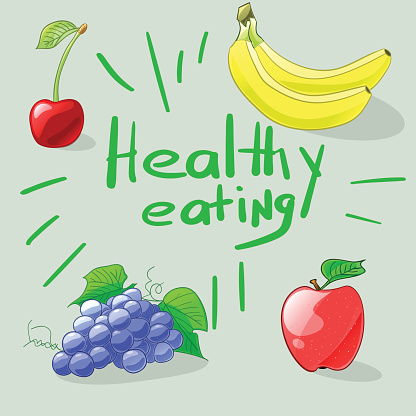 Healthy eating. Set of colorful cartoon fruits. Vector illustration