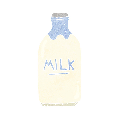 retro cartoon milk bottle
