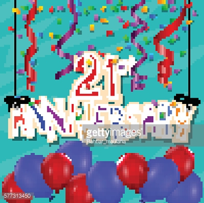 Anniversary celebration background with confetti and balloon