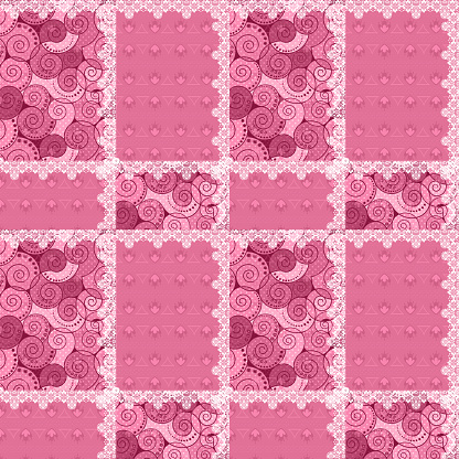 Patchwork seamless pattern ornament pink design background
