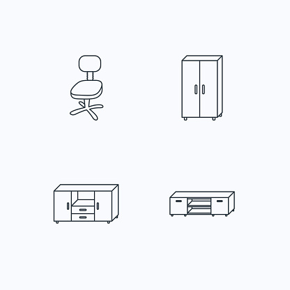 Cupboard, TV table and office chair icons.