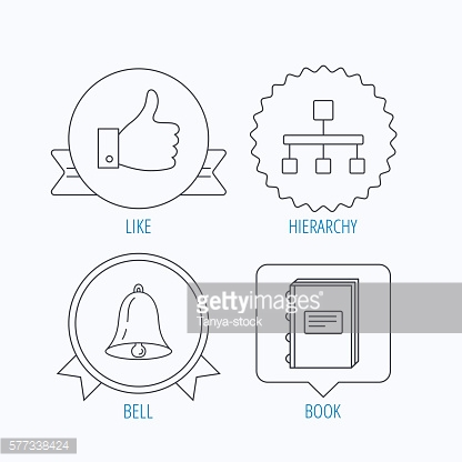Hierarchy, like and bell icons.