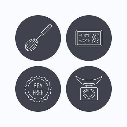 Kitchen scales, whisk and heat-resistant icons.