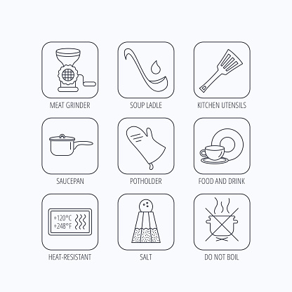 Soup ladle, potholder and kitchen utensils icon.