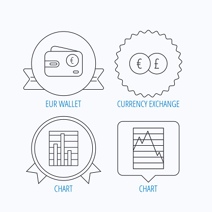 Currency exchange, chart and euro wallet icons.