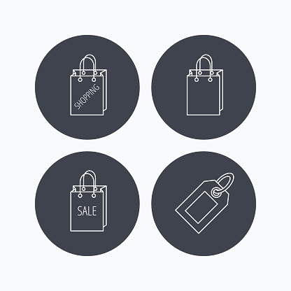 Shopping, sale bag and coupon icons.