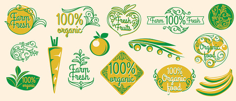 Natural organic product labels, emblems and design elements