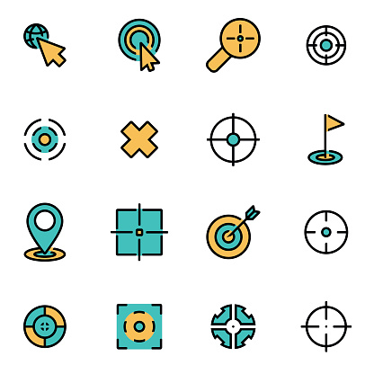Trendy flat line icon pack for designers and developers. Vector